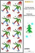 Visual puzzle - find two identical images of gnomes
