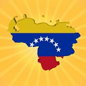 Venezuela map flag on sunburst illustration