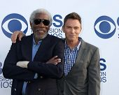 LOS ANGELES - MAY 19:  Morgan Freeman, Tim Daly at the CBS Summer Soiree at the London Hotel on May