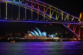Sydney Harbour Bridge And Sydney Opera House Duirng Vivid Festival