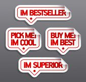 I am bestseller, buy me. Speech bubbles for retail.