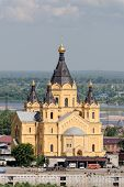 NIZHNY NOVGOROD, RUSSIA, JUNE 2014. Alexander Nevsky Cathedral in Nizhny Novgorod on the Shooter