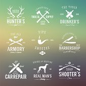 Vintage Labels With Retro Typography for Men's Hobbies Such as Hunting, Arms, Dog Breeding, Car Repa