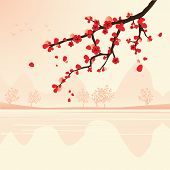 abstract landscape with sakura branch