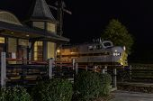Lackawanna Railroad Engine & Depot At Night
