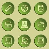 Drives and storage web icons, green paper stickers set