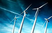 foto of wind-farm  - Powerful and ecological energy concept  - JPG
