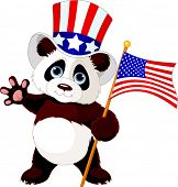 Cute Panda Holding American Flag. Raster version.