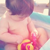 Baby in Bath tub with instagram effect