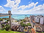 stock photo of elevator  - Lacerda Elevator and All Saints Bay in Salvador - JPG