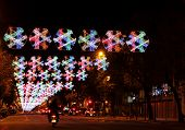 Night Christmas decoration Barcelona Spain