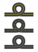 Set Of Vector Roads With Loop
