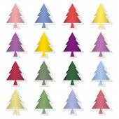 Set Of Colorful Pine Trees