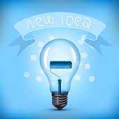 New Idea Light Bulb with Paint Brush