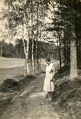 GERMANY, CIRCA 1931:  Vintage photo of woman outdoor