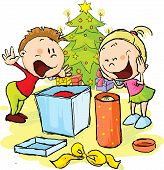 Children Under The Christmas Tree Unwrap Gifts - Vector Illustration