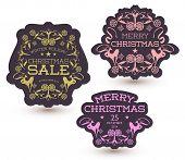 Vector set of Christmas Sale Tag