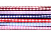 Textile plaid cotton materials on white