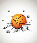pelota de baloncesto en piedra rajada
