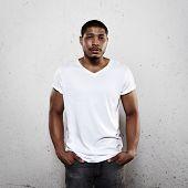 Young Man Wearing White Blank T-shirt