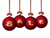 Red Christmas balls with golden word Sale
