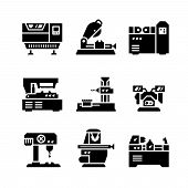 stock photo of tool  - Set icons of machine tool isolated on white - JPG