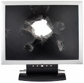 Broken monitor with a hole in the middle.