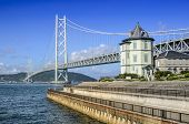 Kobe, Japan at Akashi Kaikyo Bridge spanning the Seto Inland Sea to Awaji Island.