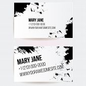Set of two creative business card templates with artistic vector design. Abstract black grunge textu