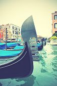 Gondolas on Grand Canal, Venice, Italy. Retro style filtred