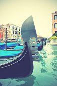 Gondolas on Grand Canal, Venice, Italy. Retro style filtred