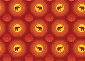 Oriental lotus and elephant seamless pattern
