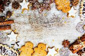 Christmas baking and christmas spices, copy space