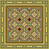 Vintage ornamental tile set with border