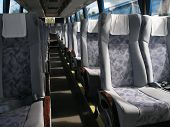stock photo of motor coach  - passenger compartment of a big shuttle bus - JPG