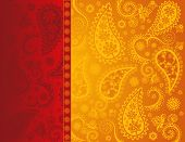Red and yellow Indian paisley saree design