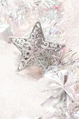 silver christmas decorations background