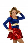 picture of short-story  - a woman in her super hero costume looking with her hair blowing in the wind - JPG