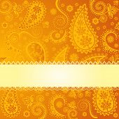 Indian yellow paisley background