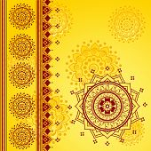 Red and yellow oriental mandala design