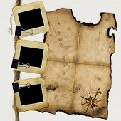 image of treasure map  - Slides for photo with blank of pirates map - JPG