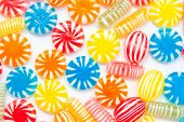 many different color candies, background