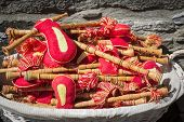 picture of piccolo  - a basket with wooden flutes  - JPG
