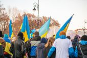 march of solidarity with Ukraine on the anniversary of the revolution dignity in Ukraine in Warsaw
