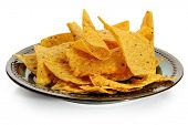 Plate full of corn chips studio isolated on white background