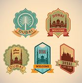 Set of retro-styled Dubai city tour labels. Editable vector illustration.