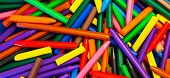 Wax Crayons In A Pile.