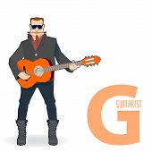 flat vector profession Letter G - guitarist