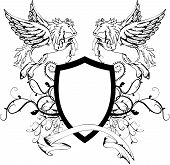 picture of pegasus  - heraldic pegasus coat of arms crest shield in vector format very easy to edit - JPG