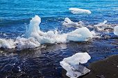 The Arctic Ocean. Iceland. Floating ices Yokulsaurloun lagoon on the beach with black sand
